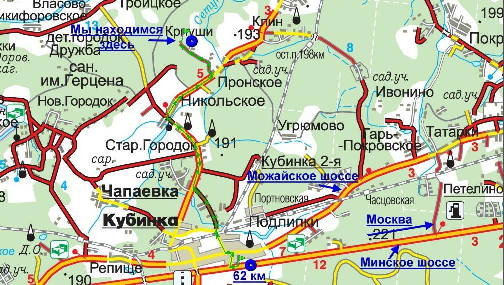 Схема проезда с Минского шоссе